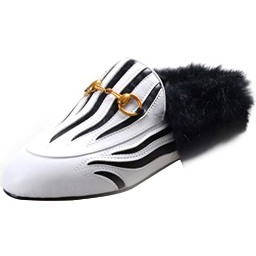 White Black and Loafers Fashion Round Slip Flat Women's Retro Slippers on Toe Outdoor Furry ENMAYER Buckle with 5w6txaqII