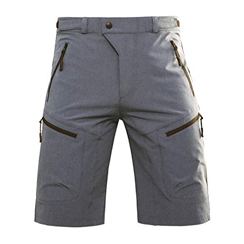 Hiauspor MTB-Cycling-Hiking-Bike-Shorts (Grey L (Waist: 32-34
