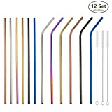 Reusable Stainless Steel Straws,Set of 12 MultiColor Extra Long 10.5'' Drinking Straws With 3 Brushes and Carry bag,Environment-Friendly Metal Straws For 20/30oz Tumblers Cold Beverage