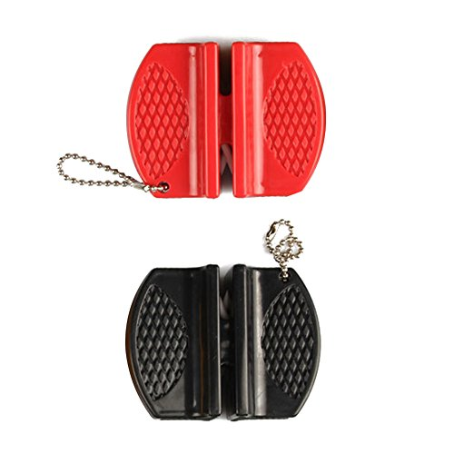 Aibuy Mini Portable Knife Sharpener Multifunction Tool Sharpener Tungsten Carbide & Ceramic Rod for Rough Grinding Fine Grinding and Polishing with Non-Slip Rubber 2 Pack(Red+Black Circle) by Aibuy (Image #2)