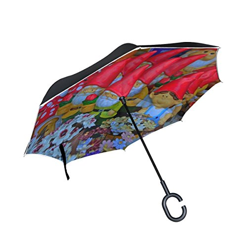 - Double Layer Inverted Dwarves Garden Gnome Color Ceramic Arts And Crafts Umbrellas Reverse Folding Umbrella Windproof Uv Protection Big Straight Umbrella For Car Rain Outdoor With C-shaped Handle