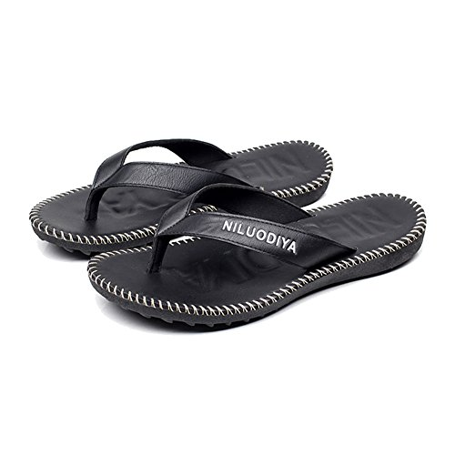 Casual Rubber NiNE PU Leather Black Sandals Flops Beach Sole Men's Flip CiF Thong BAqBfw4