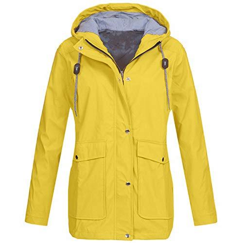 Womens Solid Rain Jacket Outdoor Plus Jackets Waterproof Hooded Raincoat ()