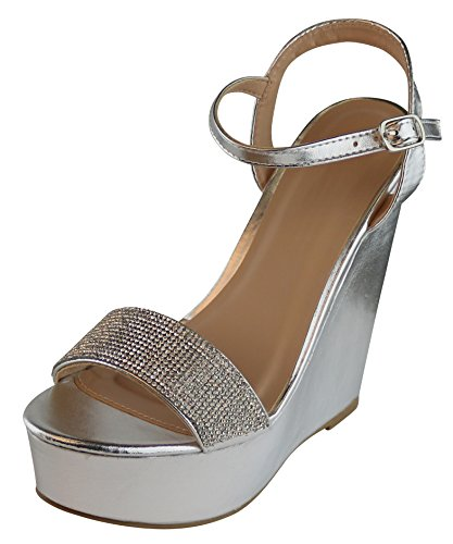 Cambridge Select Women's Crystal Rhinestone Beaded Ankle Strappy Platform Wedge Dress Sandal (8 B(M) US, Silver PU) - 5 Inch Silver High Heel
