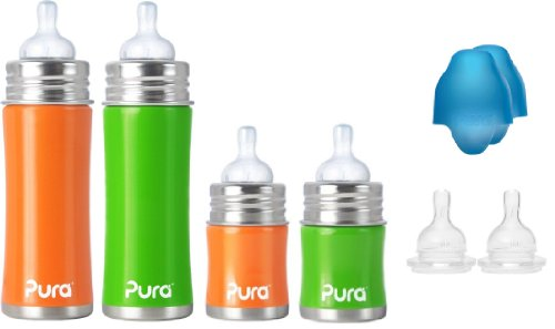 Pura Kiki Stainless Infant Bottle Stainless Steel with Natural Vent Nipple - 4 pack combo kit - Gender Neutral colors