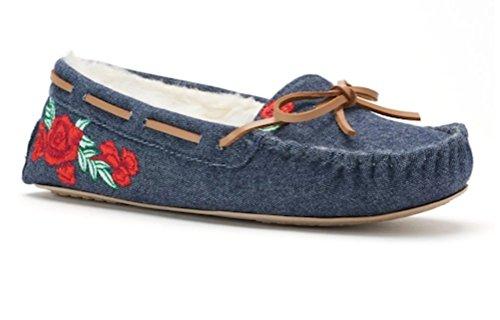 Women's Red Rose Blue SO Flat Denim Moccasin Scuff Slippers dpwRRqtx