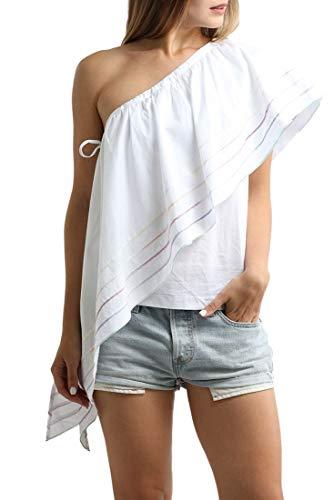 - Central Park West - Women's Primrose One Shoulder Ruffle Top - White - L