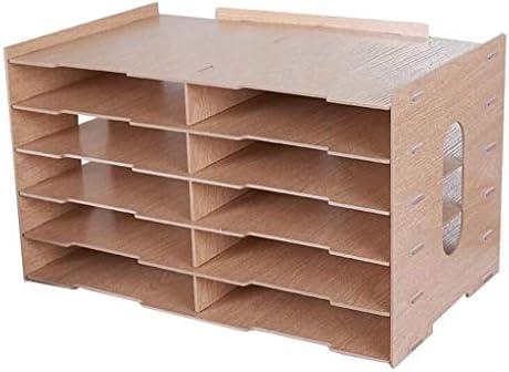 NMBD Bürozubehör Büro A4 Datei Halter Drucker Rack-Finishing Desktop-Rack-Multifunktions-Holz Storage Rack Montage HUYP (Farbe: Schwarz) (Color : Wood Color)