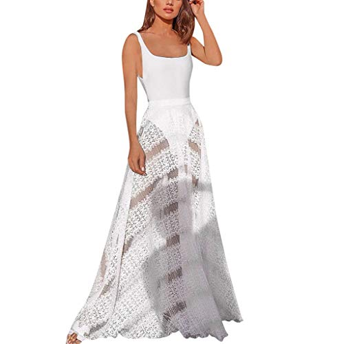 Aunimeifly Ladies Sexy Mesh Perspective Long Dress Solid Color Simple Lace Panel High Waist Gown Women Dresses