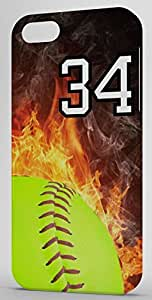 Softball In Flames Sports Fan Player Number 34 Black Rubber Decorative iPhone 6 Case