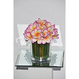 Magenta Tipped Frangipani & Green Stems Round Floral Arrangement