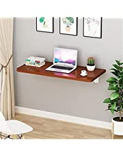 FASZFSAF Folding Wall Mounted Workbench Drop Leaf Table, Dining Table Desk, Pine Wood Wall Mounted Bar Tables, Workbench, Study Table, Collapsible Solid Wood Table,Walnut