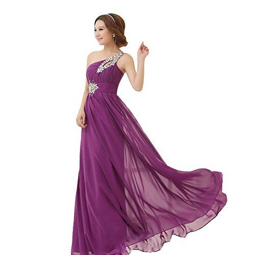 drasawee Abendkleid Brautjungfer Damen Lang Shoulder One Party Ball Kleid Chiffon Dunkelviolett tFtrfq8xw