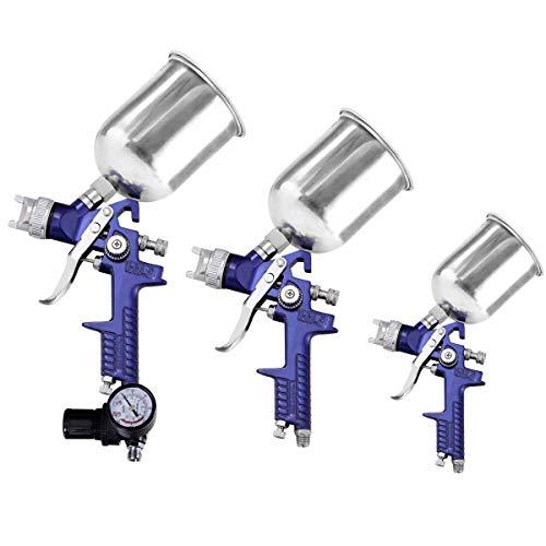 Goplus 9Pcs HVLP Spray Gun Set, 3 Professional Spray Guns with Filter Net, Pressure Gauge, Convenient Case for All Auto Paint, Basecoat Car, Primer, Clear Coat, Air Spray Gun Kit