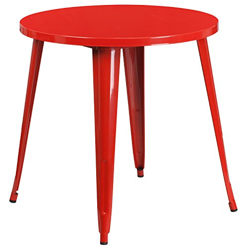 Flash Furniture 30'' Round Red Metal Indoor-Outdoor Table by Flash Furniture
