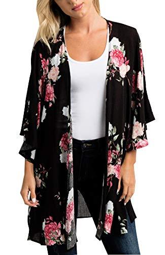 Relipop Women's Sheer Chiffon Blouse Loose Tops Kimono Floral Print Cardigan