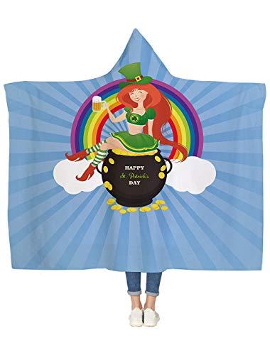 Vandarllin Sherpa Hooded Blanket for Kids/Childrens/Adults, Happy
