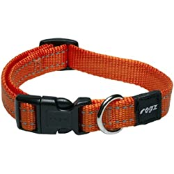 ROGZ Reflective Dog Collar for Medium Dogs, Adjustable from 12-17 inches, Orange