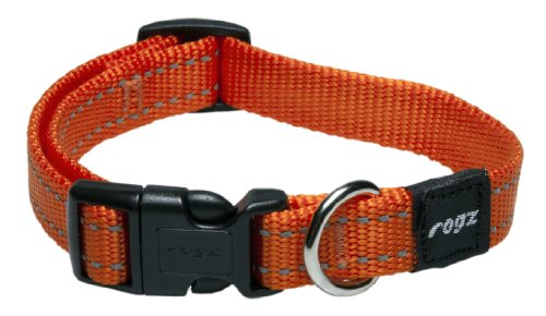 Reflective Dog Collar for Medium Dogs, Adjustable from 12-15 inches, Orange