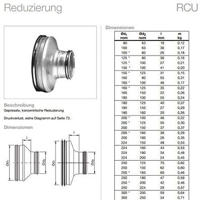 R/éducteur de l/èvre pour tube de pliage DN 80 /à 315 mm acier galvanis/é