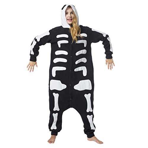Katara® 1774 - Onesie Jumpsuit, Costume for Carnival, Halloween, Cosplay Overall Pyjamas - Adults Unisex Skeleton M ()