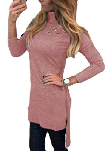 Cromoncent Femmes Col Roulé Oeillet Casual Manches Longues T-shirt Robe Rose
