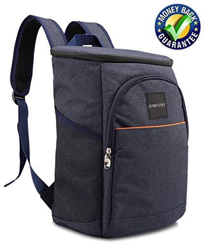 JUMO Insulated Cooler Bag Backpack Leakproof Lightweight Lunch Backpack Cooler for Work Picnics, Sports, Hiking, Men Women, 20Can Black (Dark Blue)