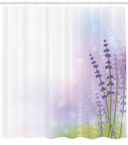 Abaysto Lavender Nature Inspired Abstract Backdrop with Gentle Pastel Lavender Stems Violet Olive Green Lilac Bathroom Decor Shower Curtain Sets with Hooks Polyester Fabric Great Gift