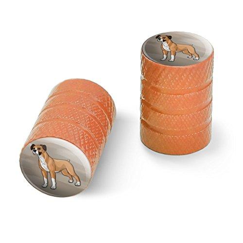 ボクサーペット犬オートバイ自転車バイクタイヤリムホイールアルミバルブステムキャップ - オレンジ
