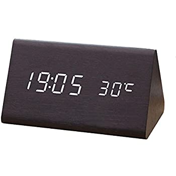 Digital Clock, [Triangular Wooden Series] Voice Sound Activated Wood LED  Digital Alarm Clock [Temperature Display] Powered By USB/AA Battery Perfect  For ... Design Inspirations