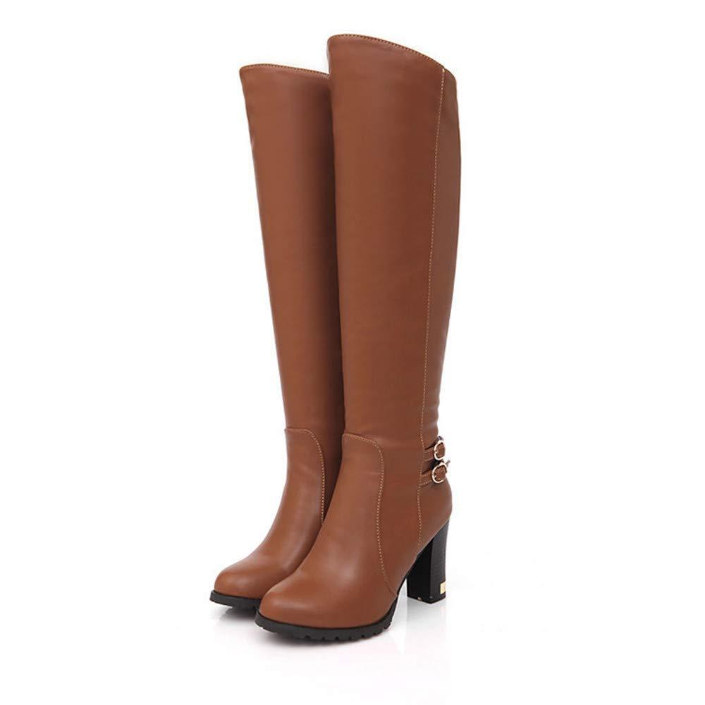 Herbst und Winter große Lederstiefel mit dicken Kniestiefeln Stiefeletten für Damen
