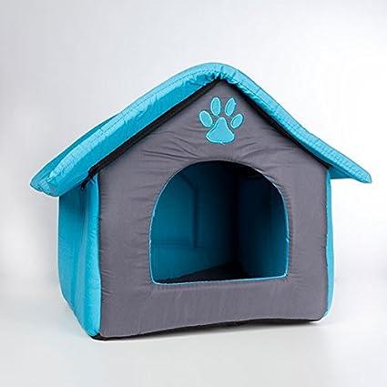 Casa de tela para animales – con cojín extraíble caseta para perro y gato color –
