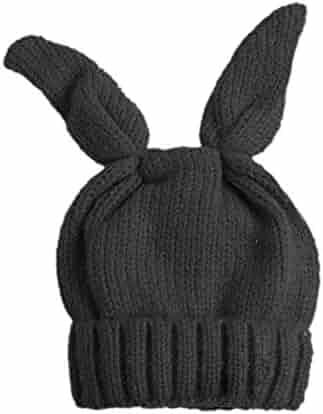 51b7f490dcc48 BIBITIME Knit Rabbit Ears Beanie Bunny Ear Hat Winter Warm Cap Adult or Kids