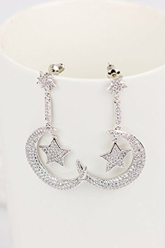 State Moon Stars Luxury Flash Diamond Earrings earings Dangler Eardrop Exaggerated Women Girls Models s925 Sweet Long Needles Creative Accessories