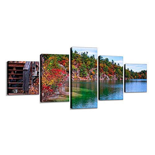 VEXRLU gatineau Park Pink Lake Trail Colorful autumns and Pictures 5 Pcs Premium Canvas Art Wall Hanging Paintings Modern Abstract Decoration Artworks Gift Unique Designed with Wooden Frame