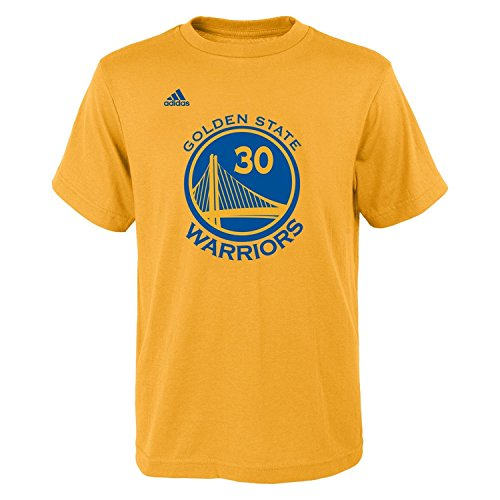 Stephen Curry Youth Golden State Warriors Gold Name and Number Jersey T-shirt Medium 10-12 (Ball State Basketball)