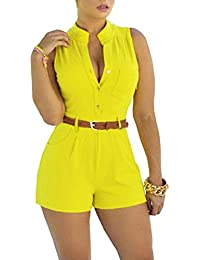 d57dd6bcd11d Women s Sexy Sleeveless Belted Short Rompers Casual Summer Jumpsuits(Please  Select One Size Bigger)