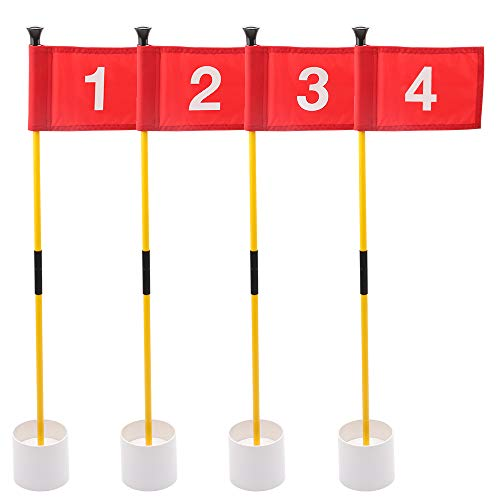 KINGTOP Golf Flags for Yard, Putting Green Pin Flags, Portable Golf Flagsticks with Hole Cup Set, 3 Feet, 4-Pack (Miniature Pole Flag)