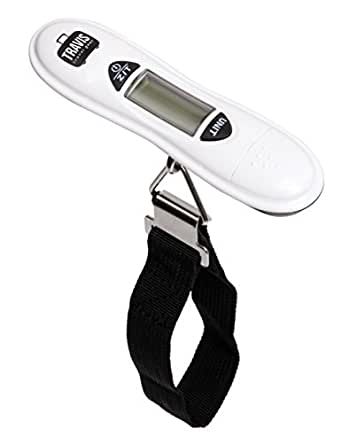 Travis Travel Digital Luggage Scale with Ergonomic and Portable Design, white