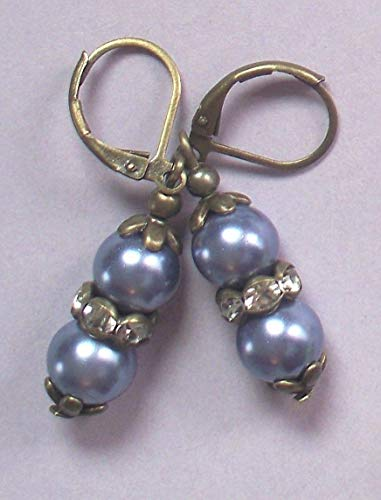 Lavender Gray Glass Pearl Crystal Earring Bronze Lever Back Artisan Earrings For Women ()