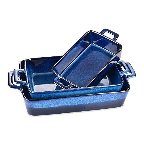 vancasso Ceramic Rectangular Bakeware Sets,8.7×12.5 inch Casserole Baking Dish, Blue Stoneware Baking Pans Set For…