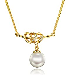 Heart Interlocking Cupid Arrow Pearl Pendant Necklace 18K Gold Mother Day Gift