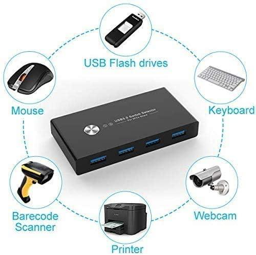 KVM - Selector de interruptor USB 3.0, adaptador conmutador para 2 ordenadores, 4 dispositivos USB, caja periférica para teclado, ratón, escáner, impresora, PC, con un botón de intercambio y 2 cables USB 3.0 10