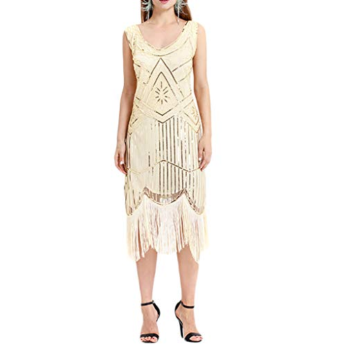 Xinantime Women's 1920s Vintage Flapper Fringe Beaded Great Gatsby Party Dress Lace Cocktail Prom Dress -