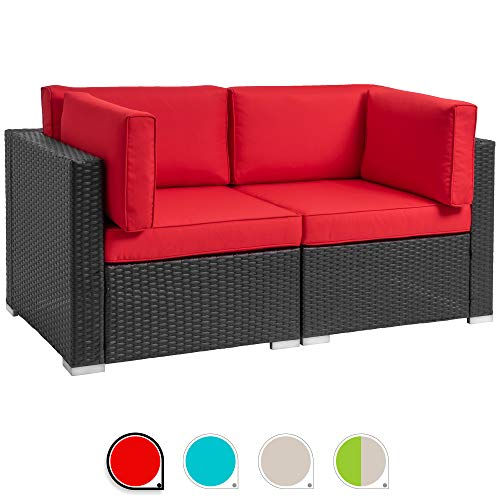 Walsunny 2pcs Patio Outdoor Furniture Sets,All-Weather Rattan Sectional Sofa with Tea Table&Washable Couch Cushions (Black Rattan) (Loveseats Red)