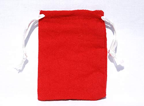AURA VARIETY 72-Piece 3''x4'' Small RED Flannel Bag with White String Traditional Wiccan Gris Gris Mojo Treasure Bag by AURA VARIETY (Image #4)