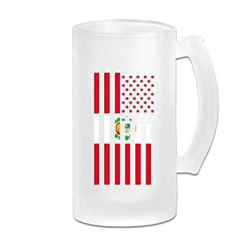 Personalized Custom Coffee Mugs Cup,Peruvian American Flag DIY Print Glass Beer Water Cup Thermal Mug Teacups For Travel Birthday Party Gift (Frosted Glass, 500 Ml,16 Oz)
