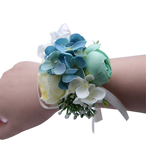MOJUN Peony Hydrangea Hand Flower Wristband Corsage for Wedding Party Prom Homecoming, Pack of 4, Turquoise+Cream