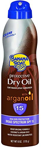 Spray Continuous Oil Clear - Banana Boat UltraMist Tanning Dry Oil Continuous Clear Spray SPF 15-6 oz (Pack of 4)