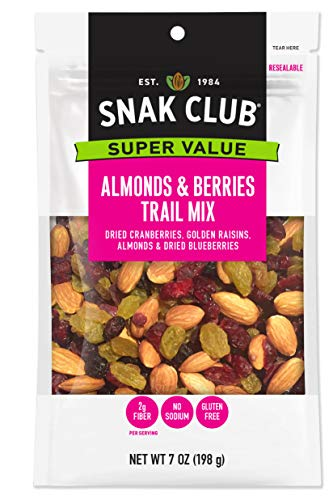 Snak Club All Natural Almonds & Berries Trail Mix, Gluten Free, Non-GMO, 7-Ounces, 6-Pack ()